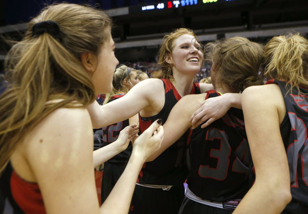 Argyle's Vivian Gray, center, celebrates with her teammates as they win over Waco La Vega during the UIL Girls Basketball 4A State Championship at the Alamodome in San Antonio, Saturday, March 5, 2016. (Stephen Spillman/Special Contributor)