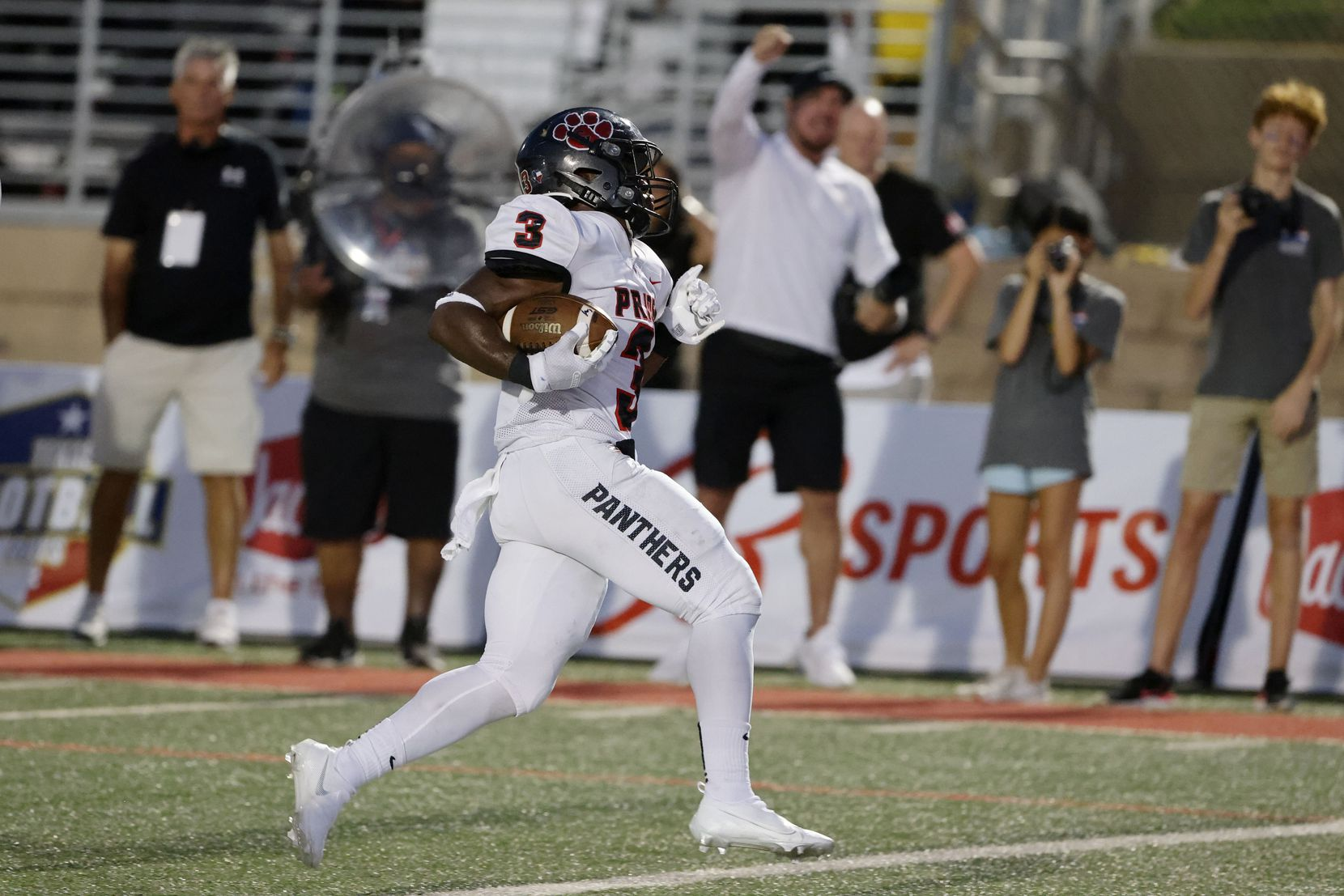 Colleyville Heritage running back Isaac Shabay (3) runs for a touchdown against Grapevine during the first half of their high school football game in Grapevine, Texas on Aug. 27, 2021. (Michael Ainsworth/Special Contributor)