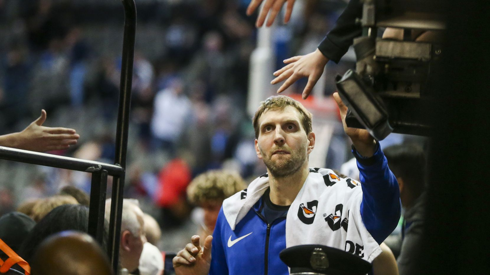 Dallas Mavericks forward Dirk Nowitzki (41) shakes fans hands following an NBA basketball game at American Airlines Center in Dallas on Saturday, March 2, 2019. The Mavericks lost 111-81. (Shaban Athuman/The Dallas Morning News)
