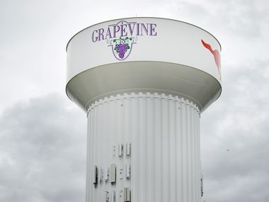 A Grapevine, Texas, water tower is pictured Tuesday, June 23, 2020. (Tom Fox/The Dallas Morning News)