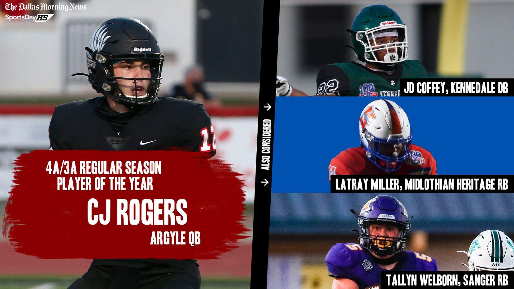 The Dallas Morning News' regular season awards for the 2020 football season: 4A/3A Player of the Year.