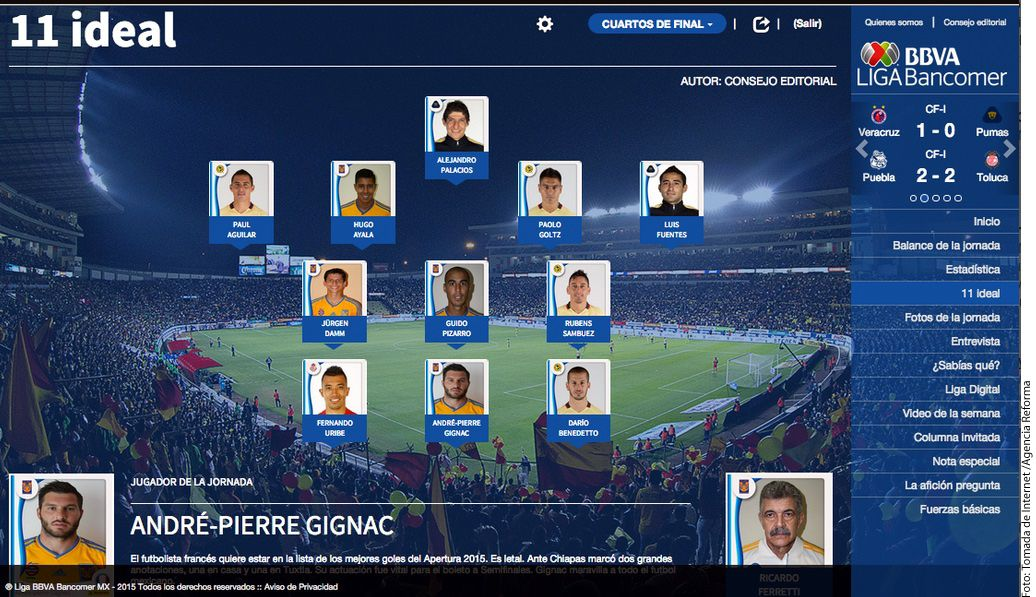 Cuatro jugadores de Tigres y Ricardo Ferretti como técnico aparecieron en el cuadro ideal de Cuartos de Final de la Liga MX./ AGENCIA REFORMA