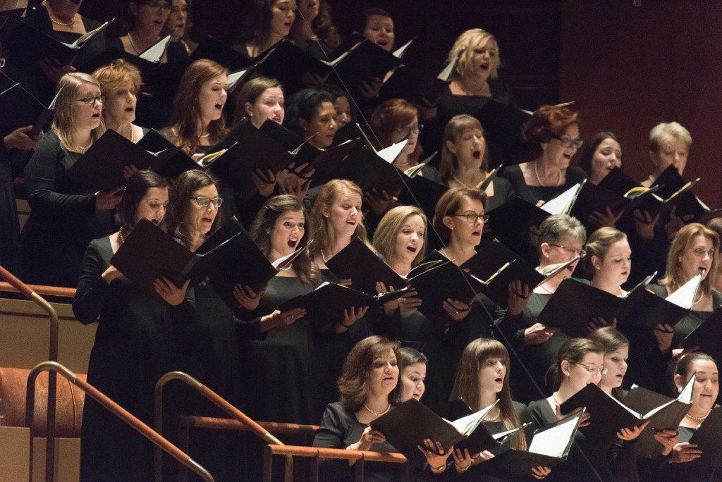 Members of the Dallas Symphony Orchestra perform Brahms' German Requiem Thursday  at the Morton H. Meyerson Symphony Center.