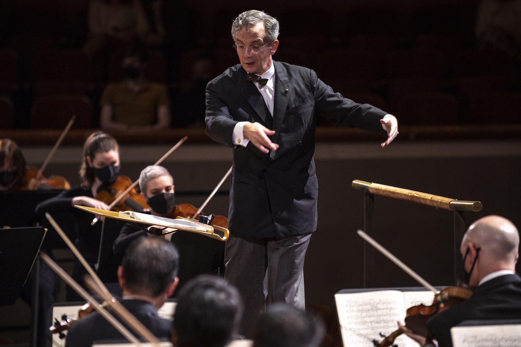 Dallas Symphony Orchestra music director Fabio Luisi conducts members of the DSO and the Metropolitan Opera Orchestra in Mahler's Symphony No. 1 in D Major Friday evening. The special concert benefited the MET Orchestra Musicians Fund and the Dallas-Fort Worth Musicians COVID-19 Relief Fund.