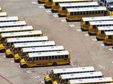Buses are lined up at the Grand Prairie ISD Maintenance and Operations building in Grand Prairie.
