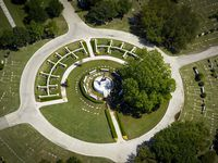 Aerial view of Calvary Hill Funeral Cemetery on Thursday, April 23, 2020, in Dallas. (Smiley N. Pool/The Dallas Morning News)
