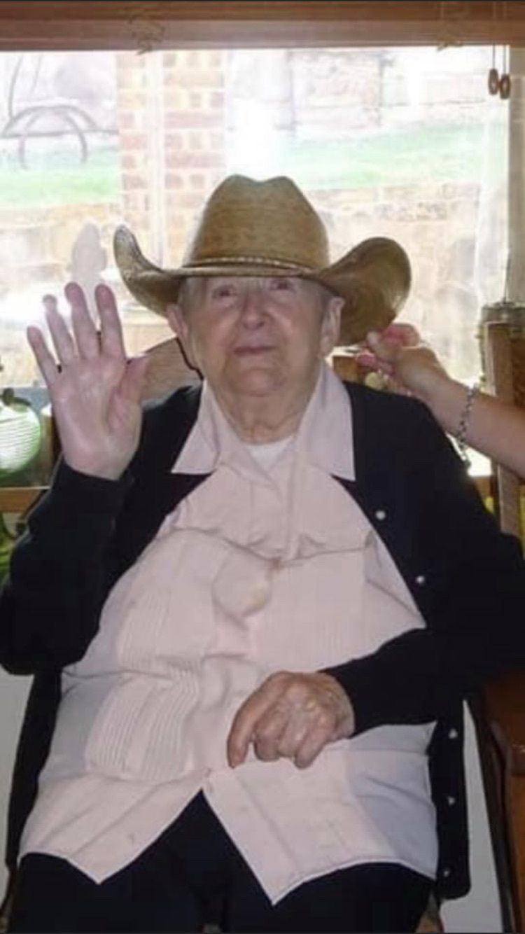 Paula Weissman, 92, and her new cowboy hat. Her visit to Texas in July 2021 was the first time she left NYC since she arrived 70 years ago.  (Courtesy of Kelvin Dilks.)