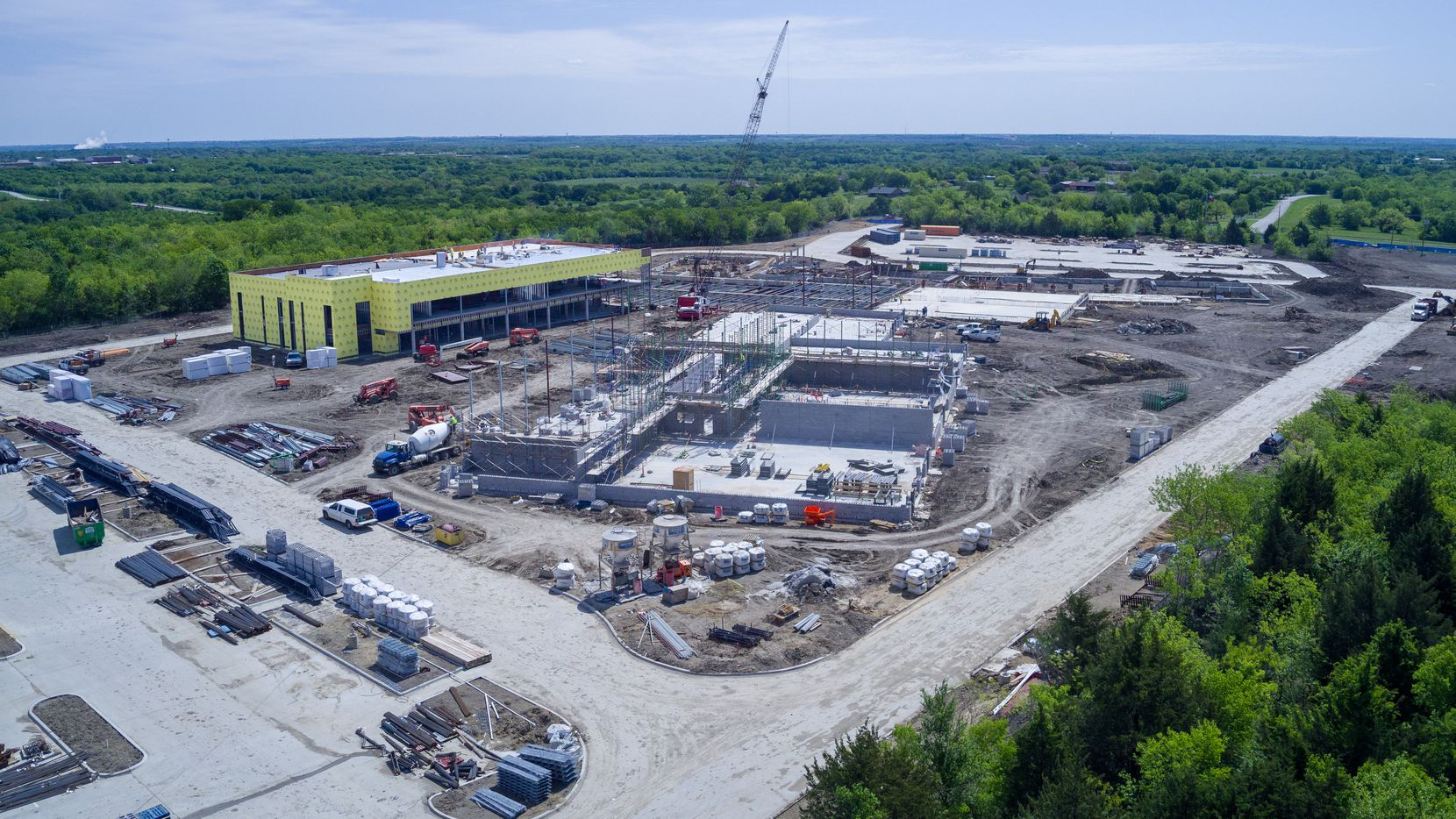 A photo shows construction progress on Mesquite ISD's 'choice' school, which is set to welcome students for the 2021-22 school year. Originally named the Innovative Education Center, it now will be called Vanguard High School.