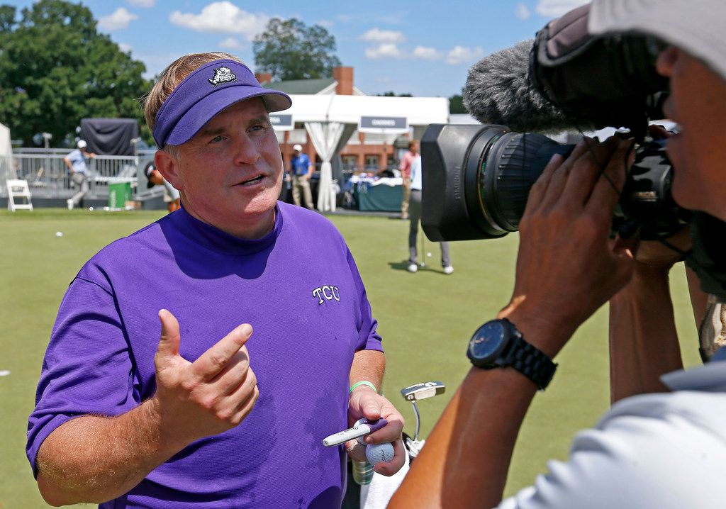 TCU head football coach Gary Patterson talks with the local media during the Colonial Pro-Am of Forth Worth Invitational at Colonial Country Club in Fort Worth, Texas, Wednesday, May 23, 2018. (Jae S. Lee/The Dallas Morning News)