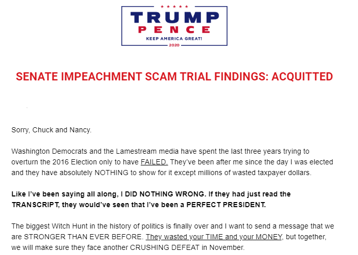 Trump campaign email rounding up donations shortly after the Senate acquitted him on Feb. 5, 2020.