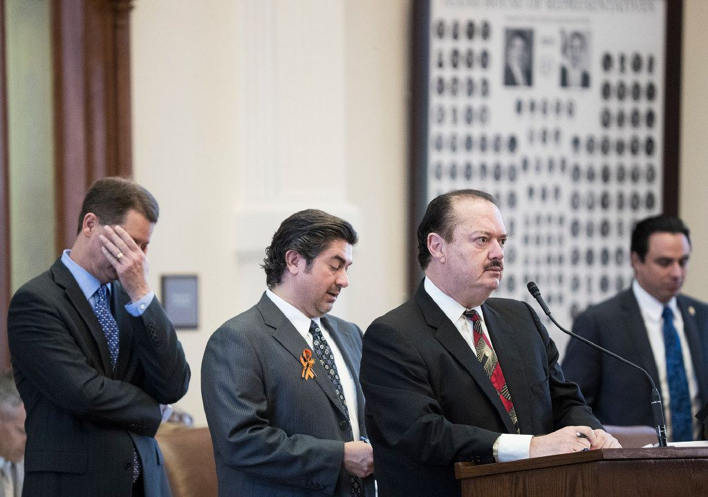 State Rep. René Oliveira (at microphone) spoke last year against Senate Bill 4 to ban sanctuary cities in Texas.