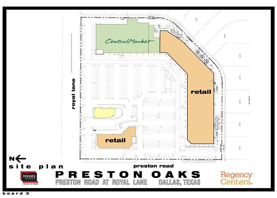 Map of the rebuilt Preston Oaks shopping center on the southeast corner of Preston Road and Royal Lane.