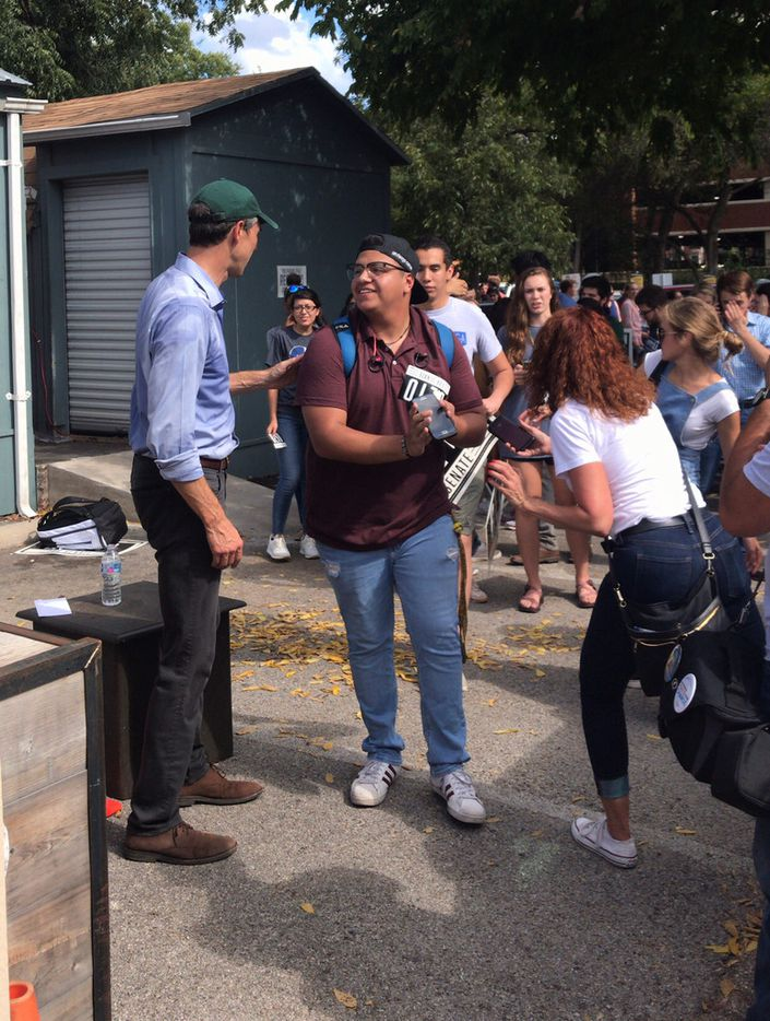 """Democratic U.S. Senate candidate Beto O'Rourke, left, greeted and posed for pictures with dozens of Baylor University students after a """"Fight for Our Future"""" rally drew about 500 people to an outdoor patio at Common Grounds, 1123 S. 8th St. in Waco, Texas, on Oct. 5, 2018."""
