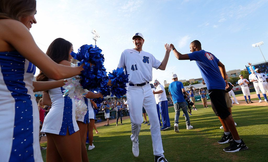 FILE - Dallas Mavericks player Dirk Nowitzki is introduced during the Dirk Nowitzki Heroes Celebrity Baseball game at Dr. Pepper Ballpark in Frisco, Texas, Friday, June 8, 2018. (Jae S. Lee/The Dallas Morning News)