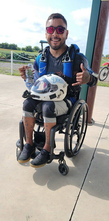 Paralyzed veteran Michael Vasquez survived a skydiving accident last week in Grayson County.