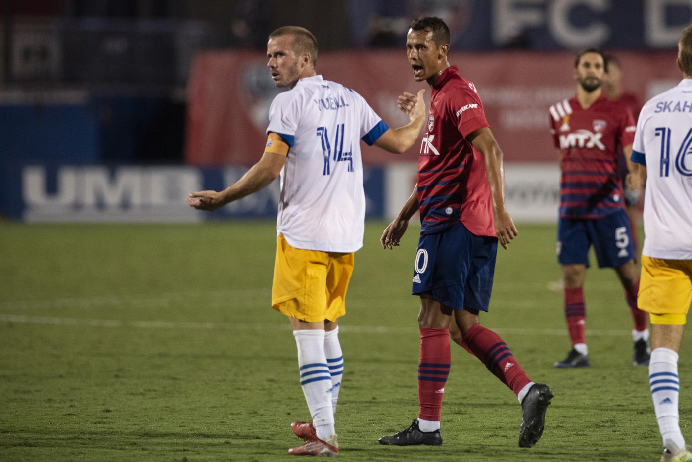 FC Dallas midfielder Andres Ricaurte (10) taunts San Jose midfielder Jackson Yueill (14) after a call is made by an official during FC DallasÕ home game against the San Jose Earthquakes at Toyota Stadium in Frisco, Texas on Saturday, September 11, 2021. (Emil Lippe/Special Contributor)