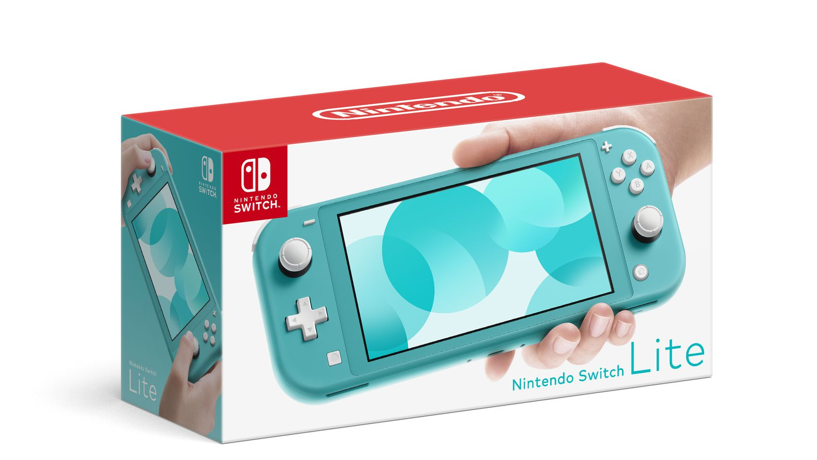 The box for a turquoise-colored Nintendo Switch Lite.