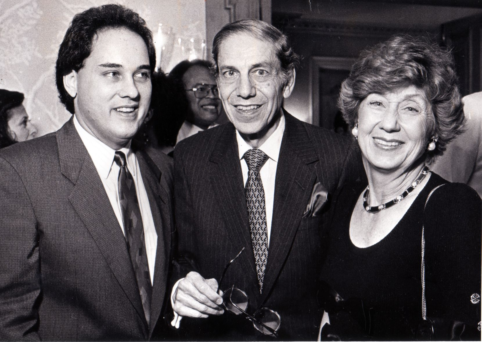 Left to right: Patrick Colombo and Richard and Louise Eiseman in a Fete Set photo from October 22, 1987.