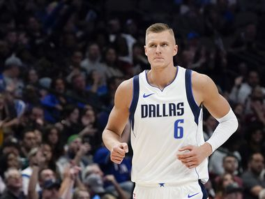 Dallas Mavericks forward Kristaps Porzingis (6) reacts after making a basket during the second half of an NBA basketball game against the Toronto Raptors at American Airlines Center on Saturday, Nov. 16, 2019, in Dallas.