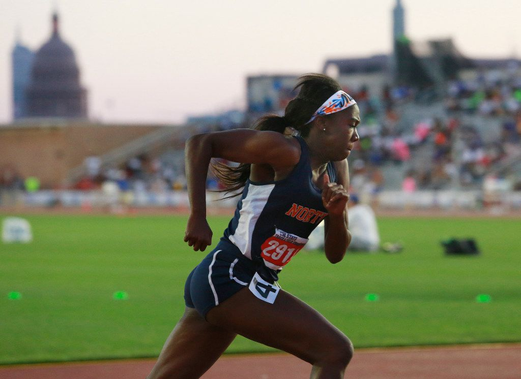 McKinney North's Jania Martin runs in the class 5A girls 400-meter run during the UIL state track and field meet in Austin , Friday, May 12, 2017. (Stephen Spillman/Special Contributor)