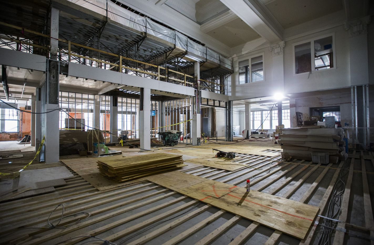 Construction crews converted an old auditorium into a two-story atrium area in the old Dallas High School building on Bryan Street in downtown Dallas.