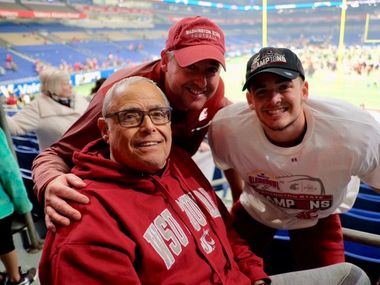 Blake Mazza (right) with his grandfather, Dominick Mazza (left) celebrate postgame at NRG Stadium in Houston.