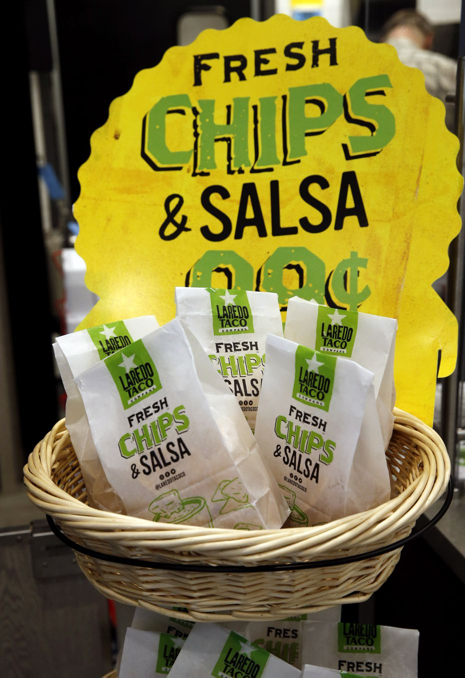 Fresh chips and salsa for sale at Laredo Taco company inside the 7-Eleven near the intersection of Audelia Road and Walnut Hill Lane on Wednesday, November 18, 2020 in Dallas. The new 7-Eleven store will have its grand opening on Thursday. (Vernon Bryant/The Dallas Morning News)