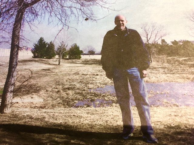 Bruce Hatter on the land he wanted to turn into a park (2014 photo).
