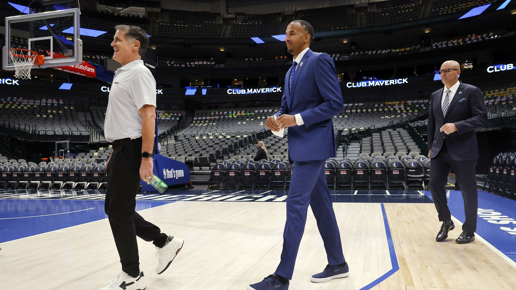 Dallas Mavericks owner Mark Cuban (left), new general manager Nico Harrison (center), and new head coach Jason Kidd arrive for a press conference to formally introduce them at the American Airlines Center, Thursday, July 15, 2021.
