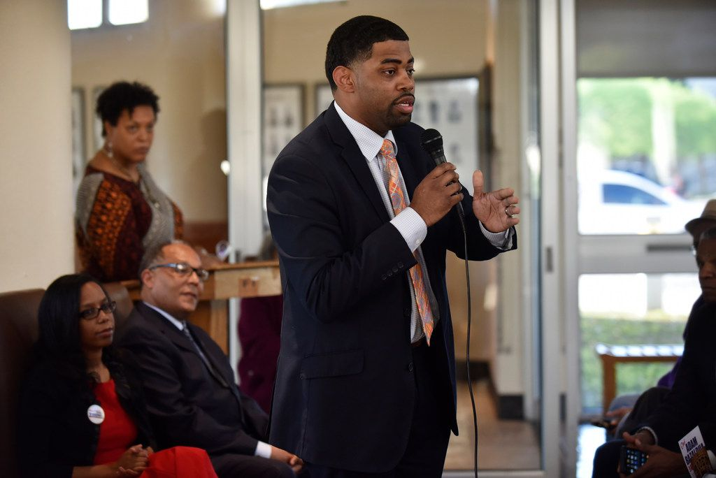Candidate Joseph Thomas for city council district 7 speaks during Monday Night Politics with the candidates, presented by The Dallas Examiner, Monday March 25, 2019 at the African American Museum at Fair Park in Dallas. Ben Torres/Special Contributor