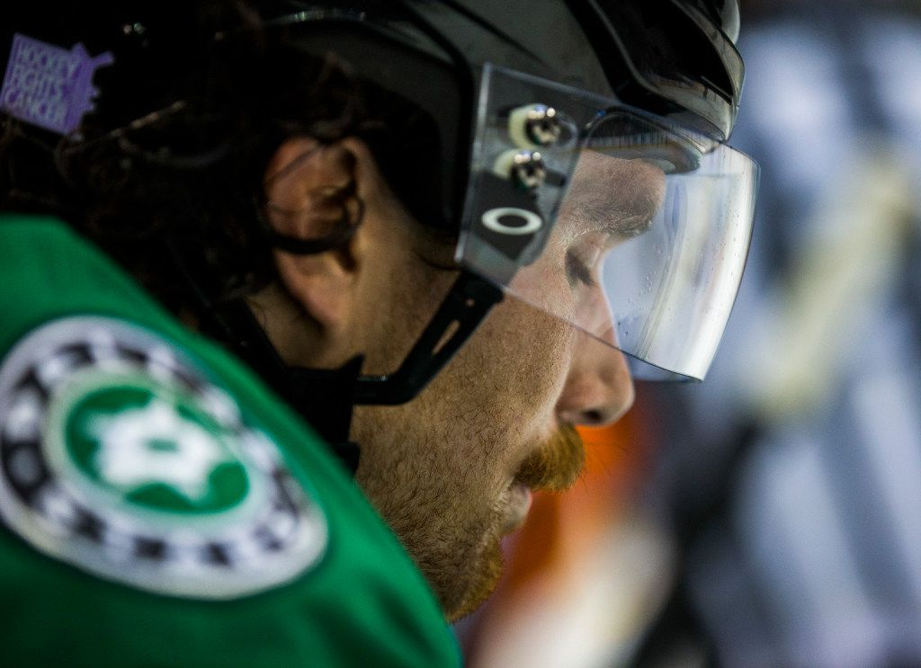 Dallas Stars defenseman Stephen Johns (28) pauses at the bench during the second period of their game against St. Louis Blues on Thursday, November 3, 2016 at the American Airlines Center in Dallas.