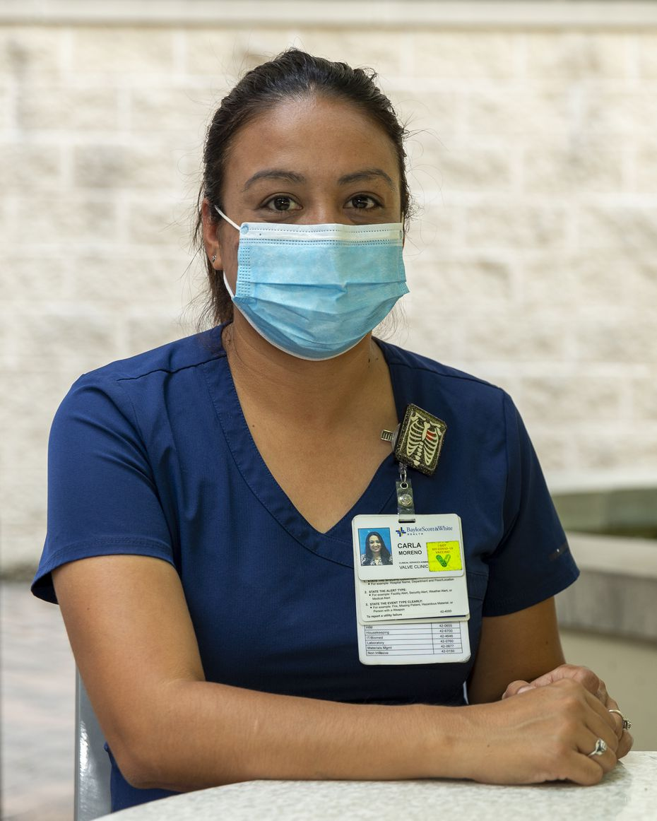 Carla Moreno, 35, is pictured at Baylor University Medical Center on Wednesday in Dallas.