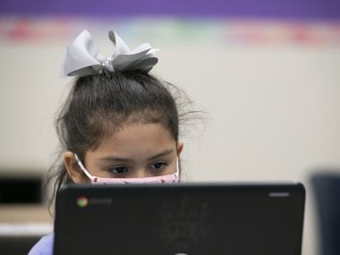 """A student of Mesquite ISD participates in a classroom session on a computer. Mesquite ISD is offering a temporary virtual option for students under 12 after """"overwhelming requests"""" from families. The virtual school begins Aug. 30, and registration closes Thursday at midnight."""
