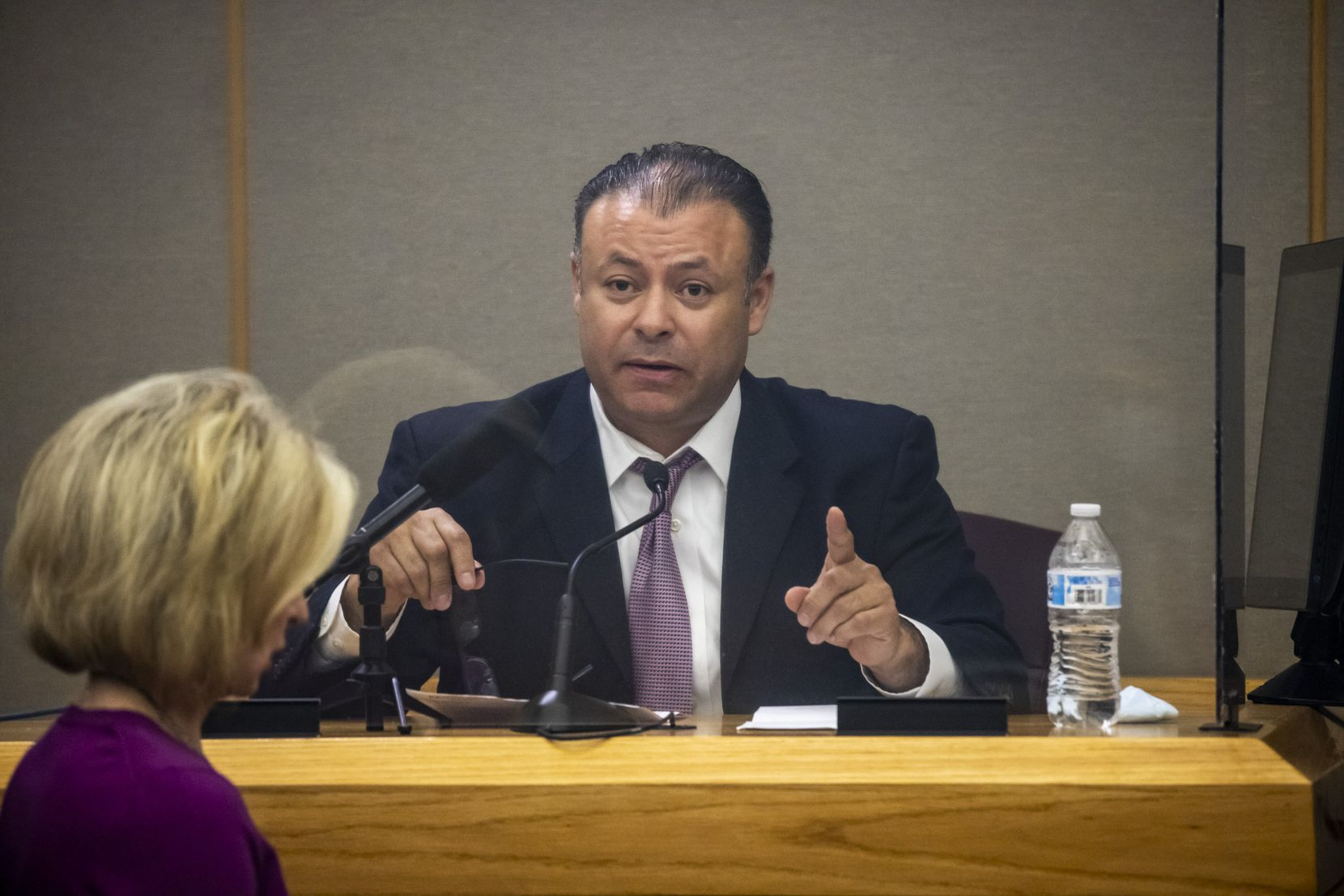 Homicide Detective Esteban Montenegro answered questions from a prosecutor Wednesday during a court hearing for former Dallas police Officer Bryan Riser.