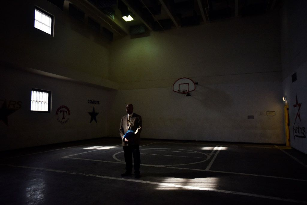 Alan E. Sims, interim chief of community services for the city of Dallas, walked across a basketball court inside a recreation room for inmates during a tour of the old jail. (Ben Torres/Special Contributor)