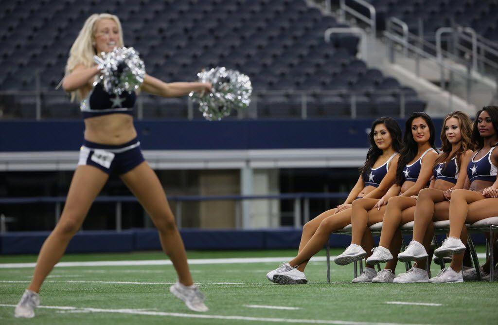 "Dancers watches as others perform during the 2016 Dallas Cowboys Cheerleaders final auditions held at AT&T Stadium in Arlington, Texas Saturday May 21, 2016. 11th season of CMT's ""Making the Team"" was being filmed during the auditions."