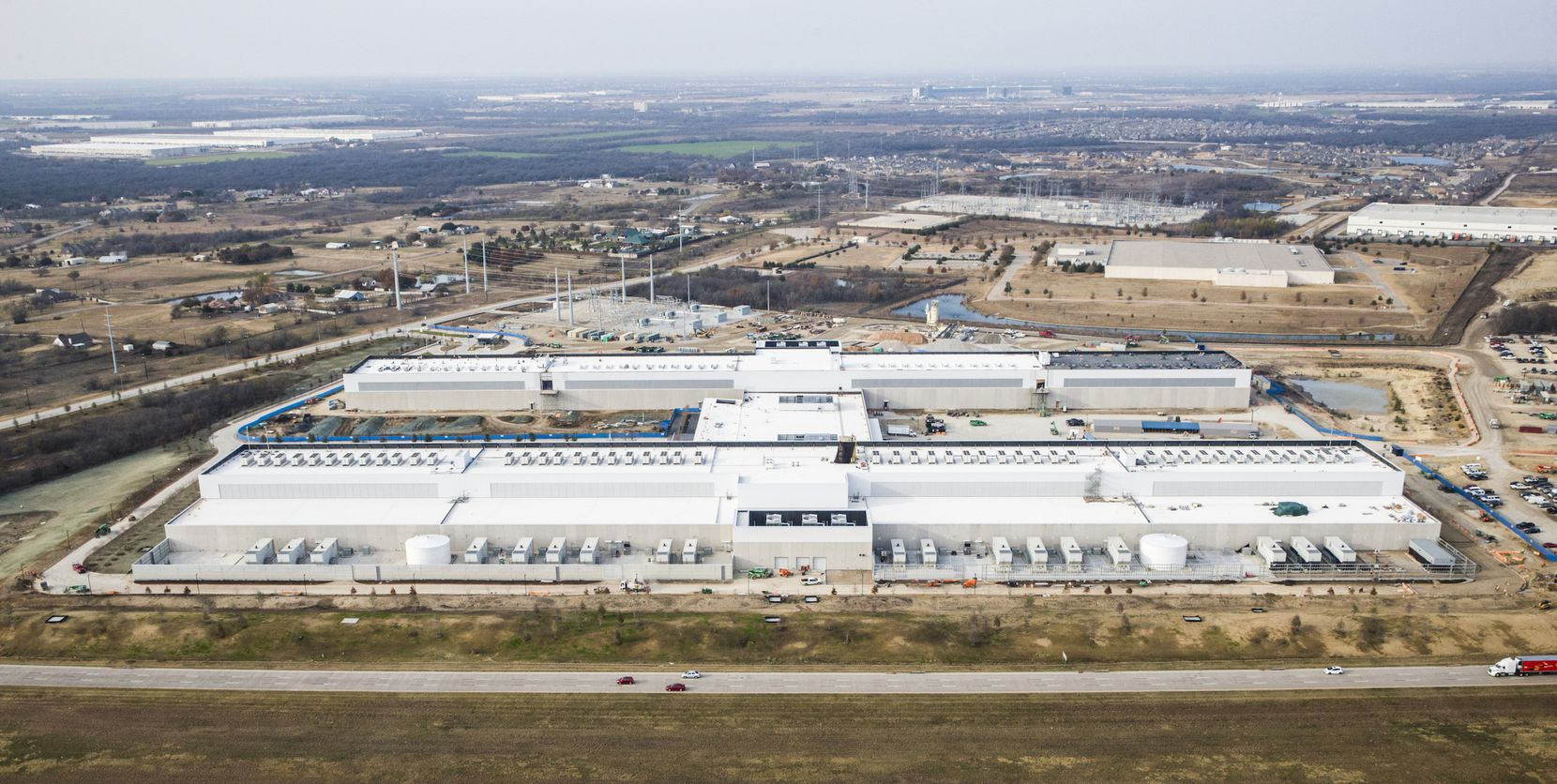 Aerial view of the new Facebook Data Center, which is part of the Alliance Texas development.