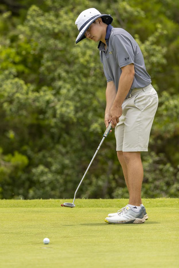 KellerÕs Kaelen Dulany putts on the 14th green during the final round of the UIL Class 6A boys golf tournament in Georgetown, Tuesday, May 18, 2021. (Stephen Spillman/Special Contributor)