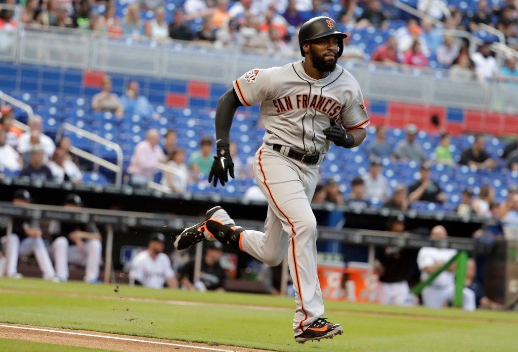 San Francisco Giants' Austin Jackson runs the bases during the first inning of a baseball game against the Miami Marlins, Wednesday, June 13, 2018, in Miami. (AP Photo/Lynne Sladky)