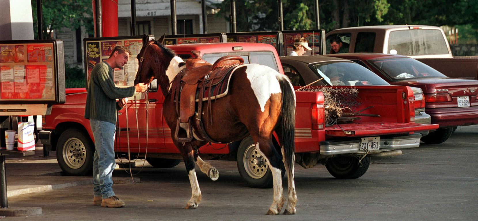 In 2001, Paul Moore and filly, Tarzan, rode 10 blocks into town for a burger and fries at the Sonic Drive-In on a Tuesday night in Quanah. Moore said his horse likes the french fries.