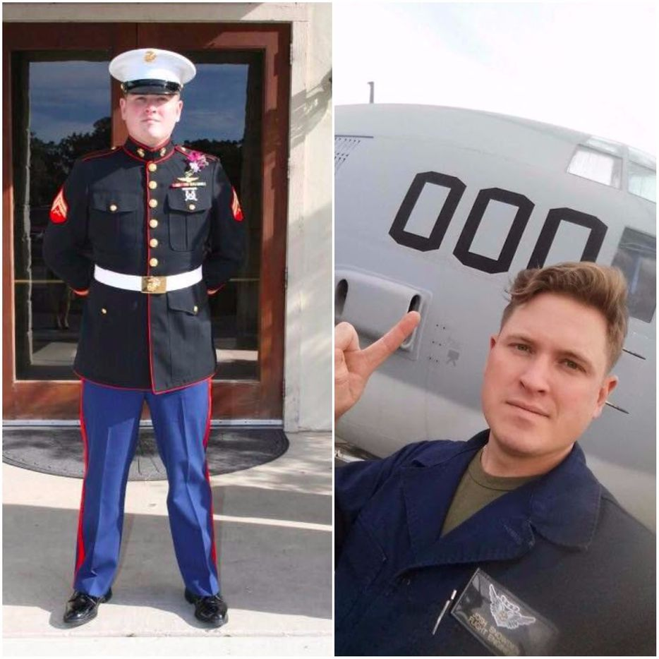 Left: Staff Sgt. Joshua Snowden standing in his uniform. Right: Snowden in front of the KC-130T plane that later crashed, killing him and 15 others.