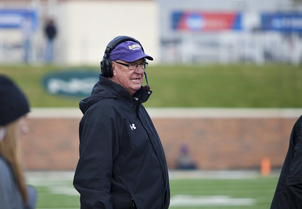 Mary Hardin-Baylor's Coach Pete Fredenburg stands on the sidelines during the Wisconsin-Whitewater NCAA Division football semifinals at Crusader Stadium on December 14, 2014 in Belton, Texas. (Thao Nguyen/Special Contributor)