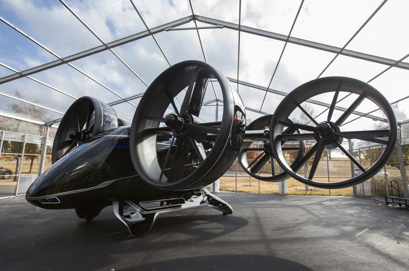Attendees of the summit at Circle T Ranch got an up-close look at prototypes, including the Bell Nexus air taxi. (Ashley Landis/The Dallas Morning News)