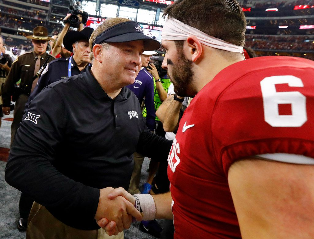 Oklahoma Sooners quarterback Baker Mayfield (6) is congratulated by TCU Horned Frogs head coach Gary Patterson following the Big XII Championship at AT&T Stadium in Arlington, Texas, Saturday, December 2, 2017. The Sooners won, 41-17. (Tom Fox/The Dallas Morning News)