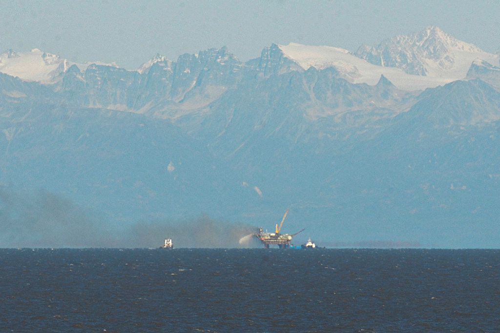 In 2014, a Hilcorp drilling platform in Cook Inlet caught fire eight miles off shore. (AP Photo/Peninsula Clarion, Rashha McChesney)