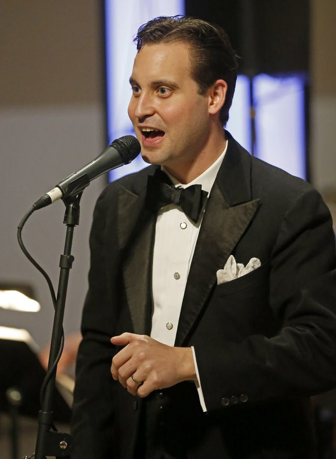 Matt Tolentino sings during the DMA Speakeasy event in celebration of Shaken Stirred Styled at the Dallas Museum of Art in Dallas.