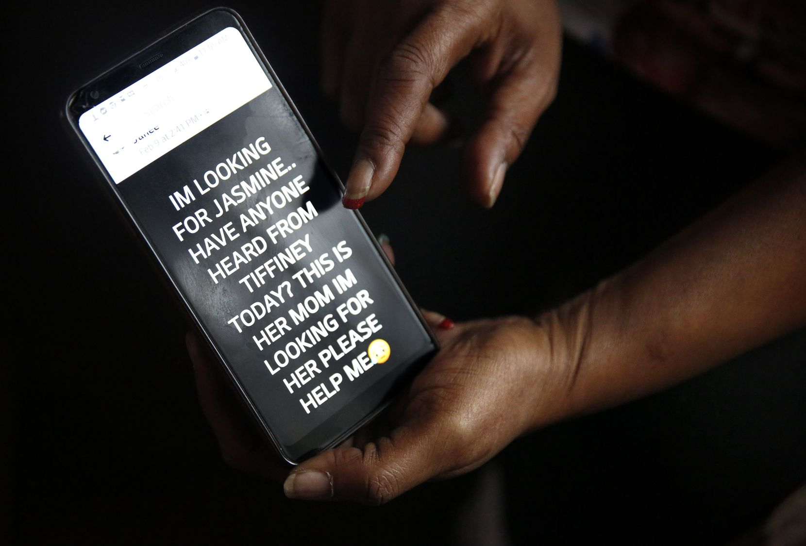 Tammy Kirk, mother of LaTiffiney Rodgers, who was fatally shot and her sons were the subject of an Amber Alert, shows one of the last messages she posted after she didn't hear from her daughter Sunday. Kirk is photographed in her Cedar Hill home.