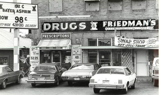 The facade of Friedman's Drugs at 1705-A Forest Ave. Photo taken April 20, 1980.
