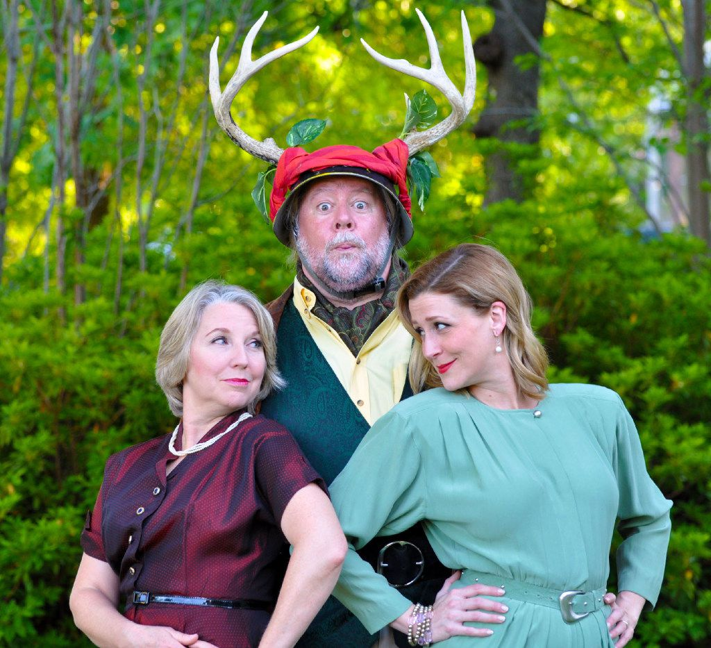 Lydia Mackay (Mistress Ford), Stephen Young (Falstaff), Constance Gold Parry (Mistress Page) perform in The Merry Wives of Windsor  for Shakespeare Dallas at Samuell Grand Amphitheater through July 21.