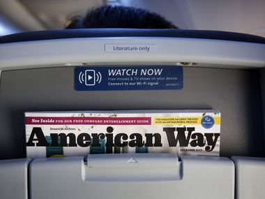 As noted in the upper right corner, the American Way magazine has been treated with an antimicrobial process. The December issues were on the seat backs of their Boeing 737-MAX 8 aircraft at Dallas-Fort Worth International Airport,Wednesday, December 2, 2020.